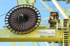 电缆容器起重机卷轴 免版税库存图片