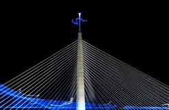 电缆桥梁贝尔格莱德在晚上 图库摄影