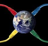电缆色的被连接的地球网络 图库摄影