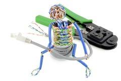 电缆计算机人被扭转 免版税图库摄影