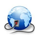 电缆连接的地球 库存照片