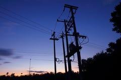 电网络柱子变压器 库存照片
