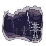 电能概念 电线和闪电在黑暗的紫色多云背景 向量例证