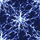 电蓝色传染媒介闪电无缝的样式 库存例证