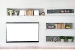 电视和架子在客厅现代风格 木家具我 免版税库存图片