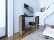 电视和伴音系统在现代客厅 免版税库存照片