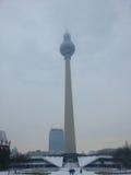 电视在雾的柏林-德国耸立 库存图片