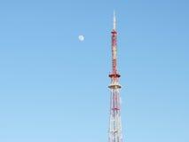 电视塔和月亮 库存照片