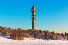电视塔在斯德哥尔摩,瑞典 图库摄影