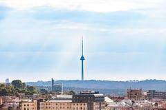 电视塔在维尔纽斯,立陶宛 最高的结构在立陶宛,维尔纽斯市的标志 库存图片
