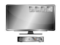 电视宽银幕和顶面箱子 免版税库存照片
