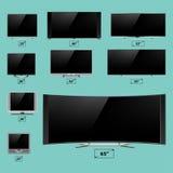 电视屏幕lcd显示器模板电子设备技术数字式设备显示传染媒介例证 库存图片