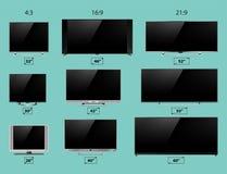 电视屏幕lcd显示器模板电子设备技术数字式设备显示传染媒介例证 免版税库存照片