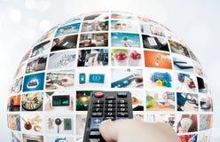 电视广播多媒体球形摘要构成 免版税图库摄影