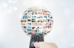电视广播多媒体球形摘要构成 免版税库存照片