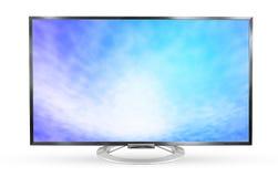 电视显示器在白色背景隔绝的纹理天空 免版税库存照片