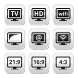 电视显示器,被设置的屏幕按钮 库存图片