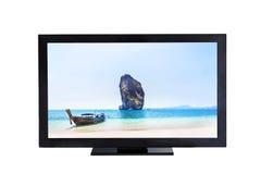 电视有longtail小船的电视屏幕和海图片的小海岛 图库摄影