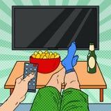 电视注意 人对负遥控在客厅 流行艺术例证 向量例证