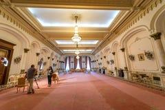 电视生产在齐奥塞斯库宫殿 免版税库存照片