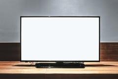 电视白色屏幕 免版税库存照片