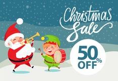 电视节目预告海报圣诞老人和矮子的圣诞节销售50 库存照片