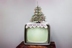 电视,圣诞树 库存图片