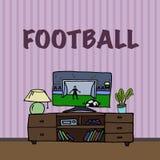 电视,电视观看的橄榄球,足球比赛 免版税图库摄影
