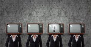 电视头女商人 有想法 免版税库存照片