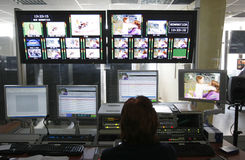 电视主任室 免版税库存图片