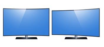 电视-聪明的电视 超4k HD屏幕,被带领的电视隔绝了白色背景 库存例证