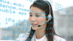 电话中心代理谈话与客户 影视素材