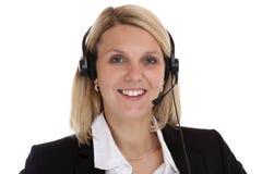 电话中心妇女有耳机电话响度单位的画象秘书 免版税图库摄影