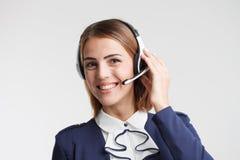 电话中心工作者画象伴随 电话推销operat 免版税库存图片
