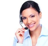 电话中心操作员女商人。 免版税库存照片