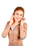 电话中心操作员女孩 免版税库存图片