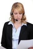 电话中心雇员 免版税图库摄影