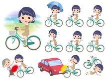 电话中心woman_city自行车 免版税图库摄影