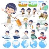电话中心woman_travel 皇族释放例证