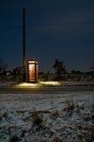 电话亭在晚上 免版税库存照片