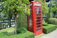 电话亭在NONG NOOCH庭院芭达亚里 免版税库存图片