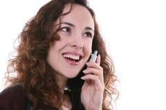 电话俏丽的妇女 免版税库存照片