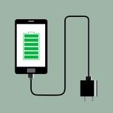 电话充电器充分的电池 免版税库存照片