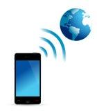 电话和地球wifi 免版税库存照片