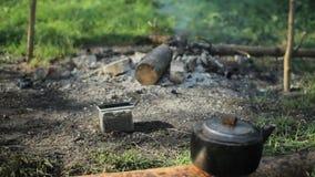 电话在抽烟的火附近投入了石头 在前景,野营水壶 早期的森林早晨 股票录像