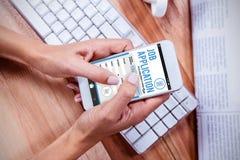 电话工作申请书app的综合图象 免版税库存图片