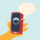 电话微笑谈话 库存图片