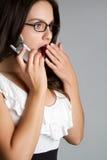 电话惊奇的妇女 库存照片