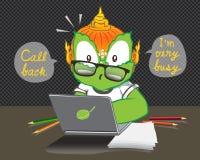 电话我是非常繁忙的泰国动画片传染媒介 库存例证