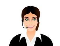 电话接线员微笑的女孩 免版税库存图片